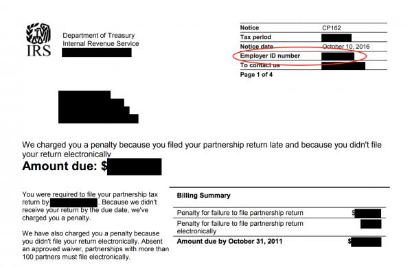 IRS tax notice EIN