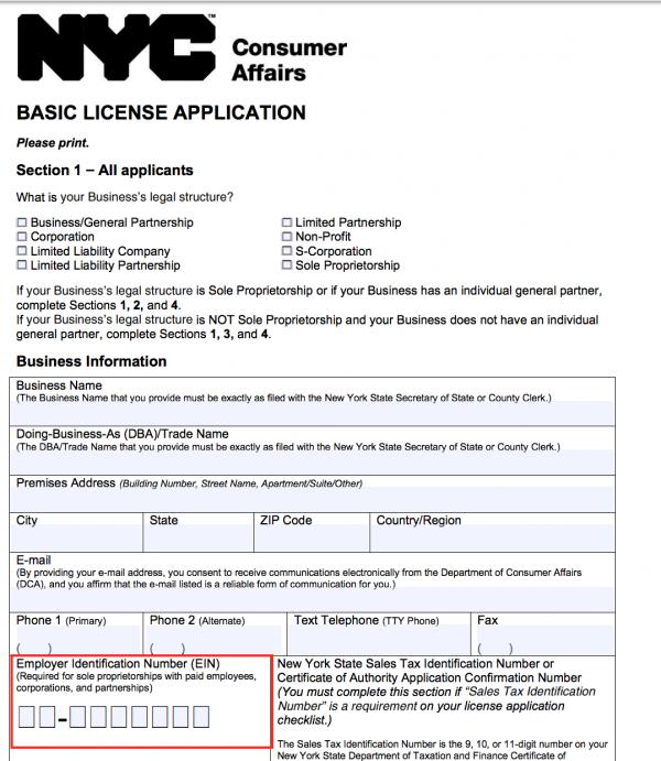 NYC business license application EIN