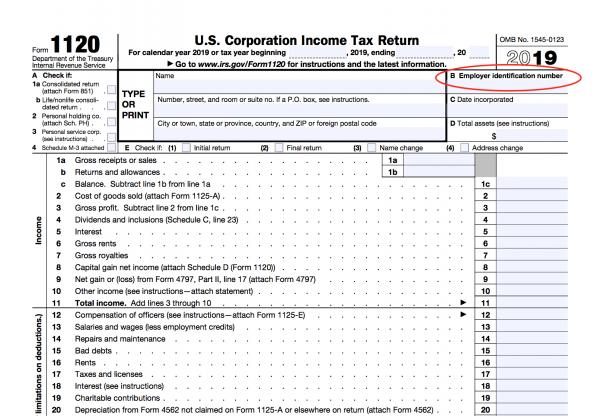federal tax return EIN