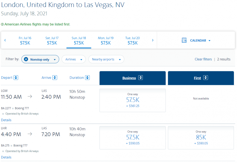 Search results show award availability for two business class options and one first class option.