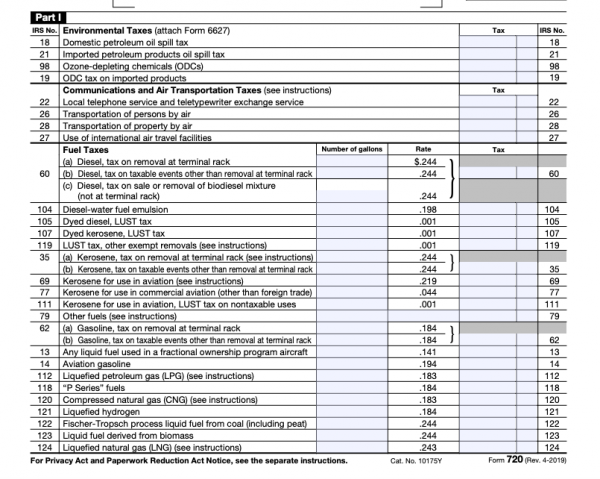IRS Form 720