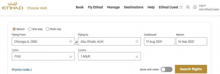 booking etihad first class
