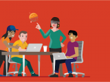 group of people working together, red background