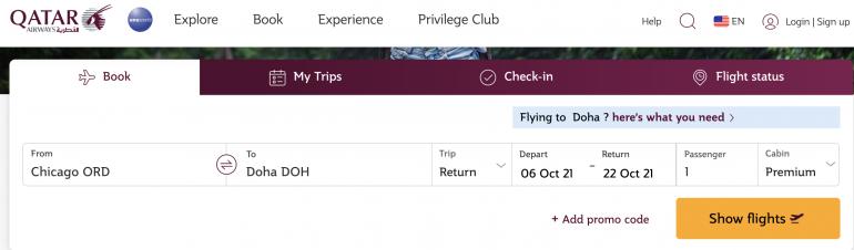qatar first class booking