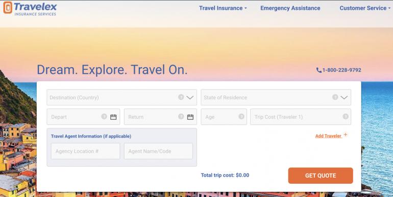 Travelex trip quote input fields