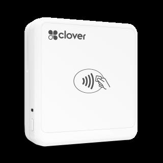 A white square Clover Go card reader