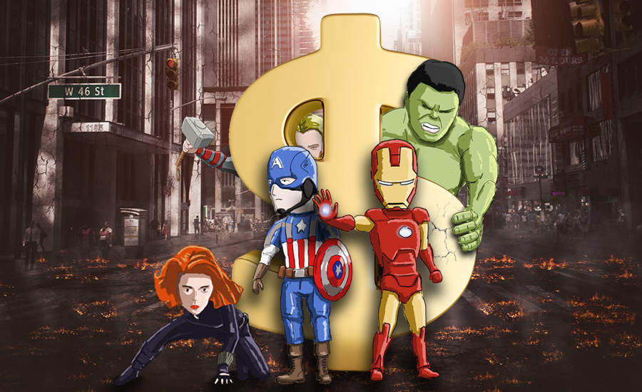 The Avengers standing around a dollar sign.